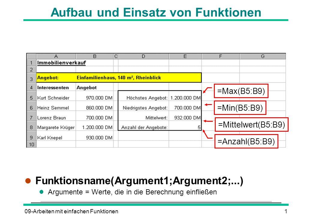 09-Arbeiten mit einfachen Funktionen1 Aufbau und Einsatz von Funktionen l Funktionsname(Argument1;Argument2;...) l Argumente = Werte, die in die Berechnung einfließen =Max(B5:B9) =Min(B5:B9) =Mittelwert(B5:B9) =Anzahl(B5:B9)