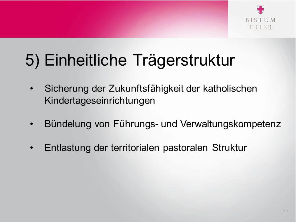 5) Einheitliche Trägerstruktur Sicherung der Zukunftsfähigkeit der katholischen Kindertageseinrichtungen Bündelung von Führungs- und Verwaltungskompet