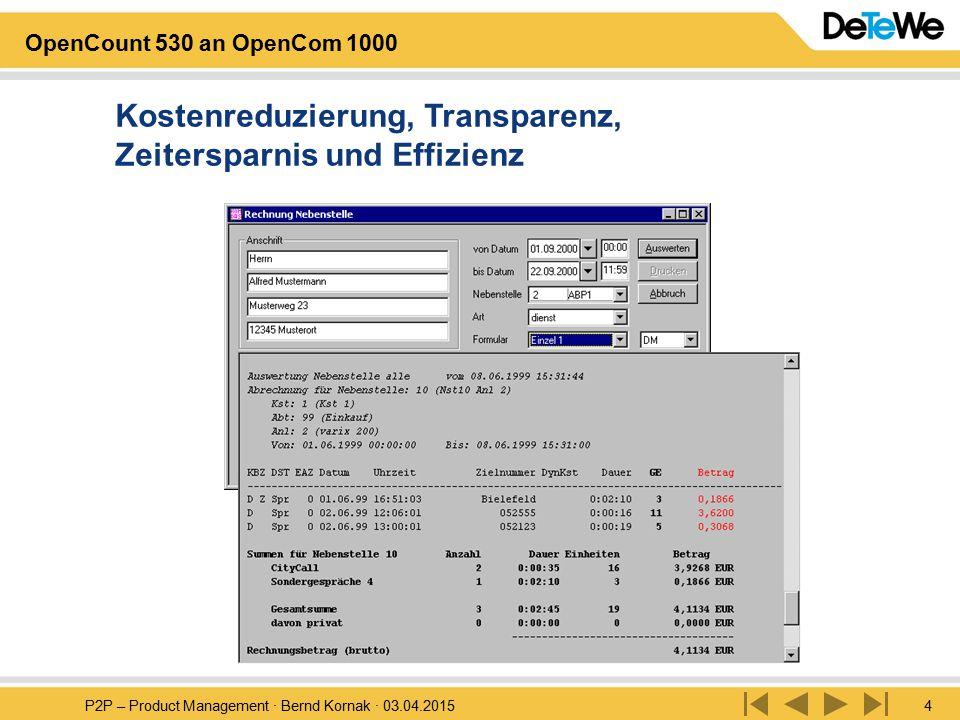 P2P – Product Management · Bernd Kornak · 03.04.20155 OpenCount 530 an OpenCom 1000 Sicherheit und Kontrolle