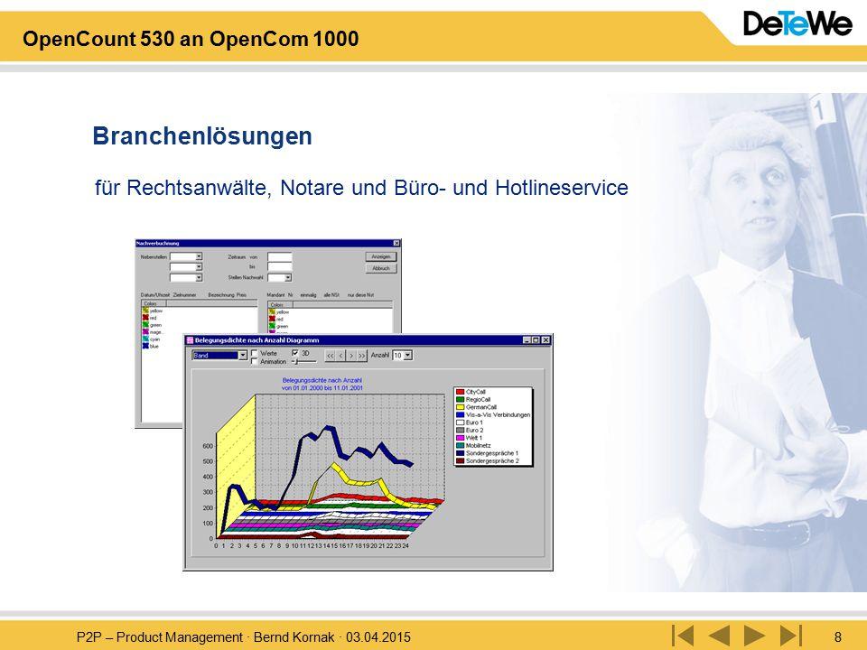 P2P – Product Management · Bernd Kornak · 03.04.20158 OpenCount 530 an OpenCom 1000 für Rechtsanwälte, Notare und Büro- und Hotlineservice Branchenlös