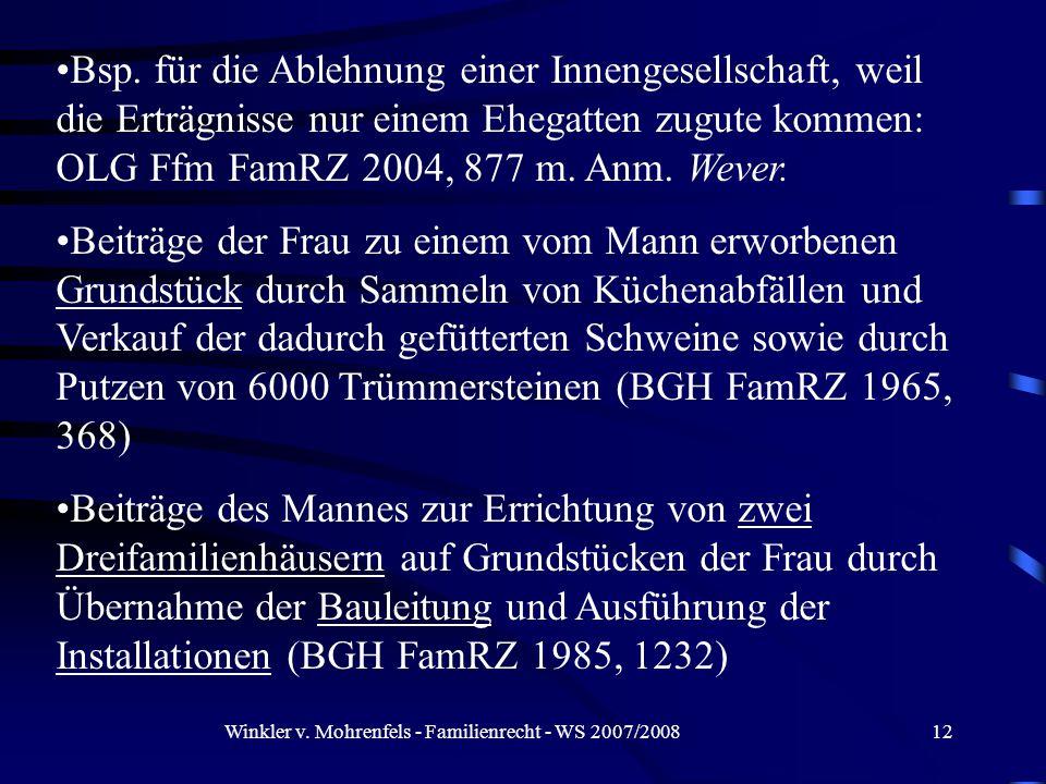 Winkler v. Mohrenfels - Familienrecht - WS 2007/200812 Bsp.