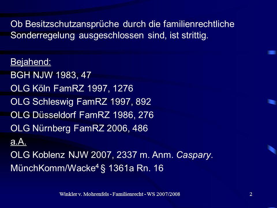 Winkler v.Mohrenfels - Familienrecht - WS 2007/200823 III.