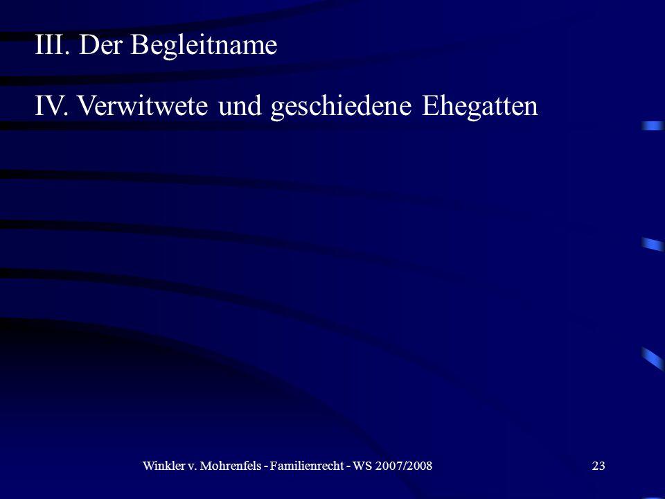 Winkler v. Mohrenfels - Familienrecht - WS 2007/200823 III.