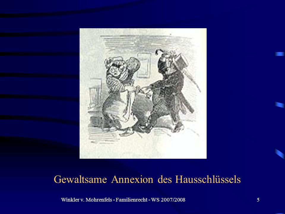 Winkler v. Mohrenfels - Familienrecht - WS 2007/20085 Gewaltsame Annexion des Hausschlüssels