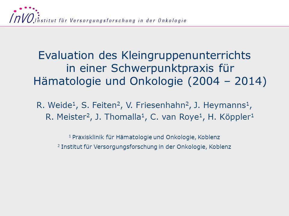 Seite 1 Evaluation des Kleingruppenunterrichts in einer Schwerpunktpraxis für Hämatologie und Onkologie (2004 – 2014) R.