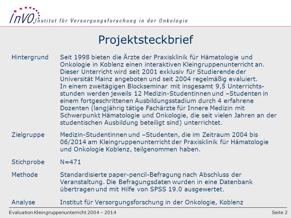Seite 2 Projektsteckbrief HintergrundSeit 1998 bieten die Ärzte der Praxisklinik für Hämatologie und Onkologie in Koblenz einen interaktiven Kleingruppenunterricht an.