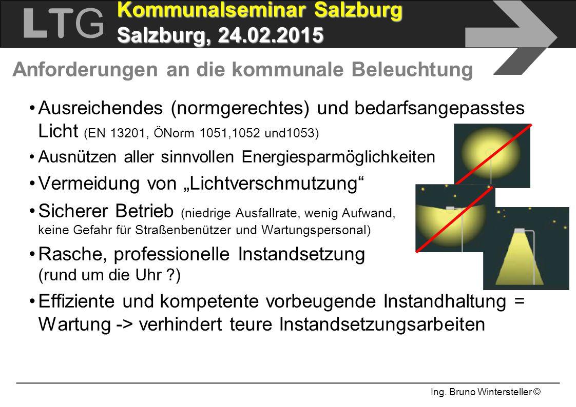 Ing. Bruno Wintersteller © LTGLTG  Kommunalseminar Salzburg Salzburg, 24.02.2015 Anforderungen an die kommunale Beleuchtung Ausreichendes (normgerech