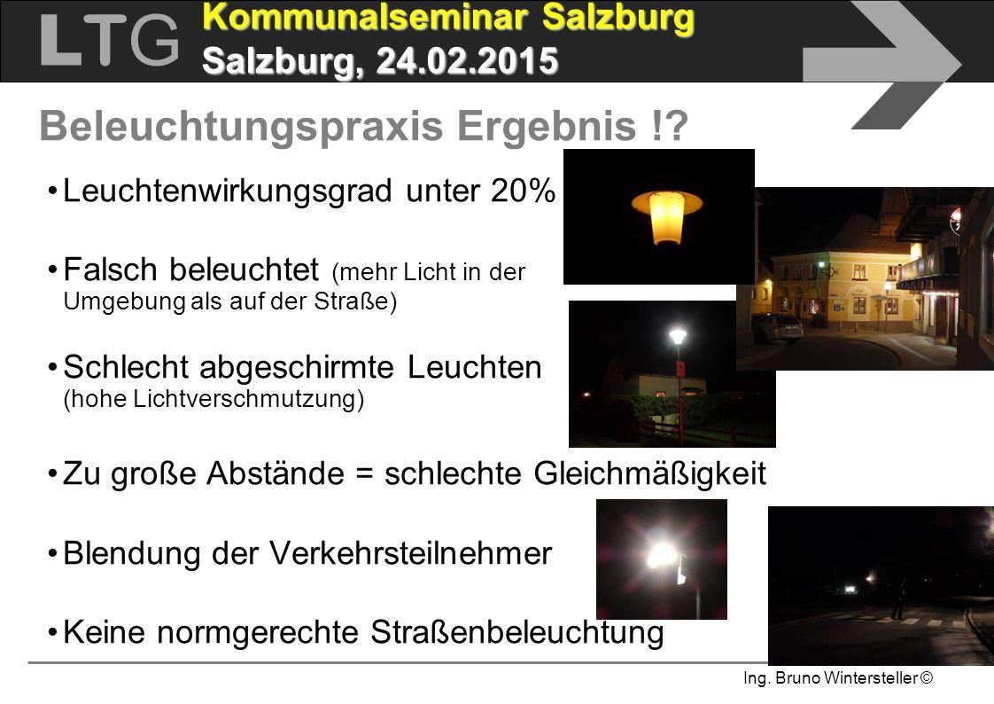 Ing. Bruno Wintersteller © LTGLTG  Kommunalseminar Salzburg Salzburg, 24.02.2015 Leuchtenwirkungsgrad unter 20% Falsch beleuchtet (mehr Licht in der