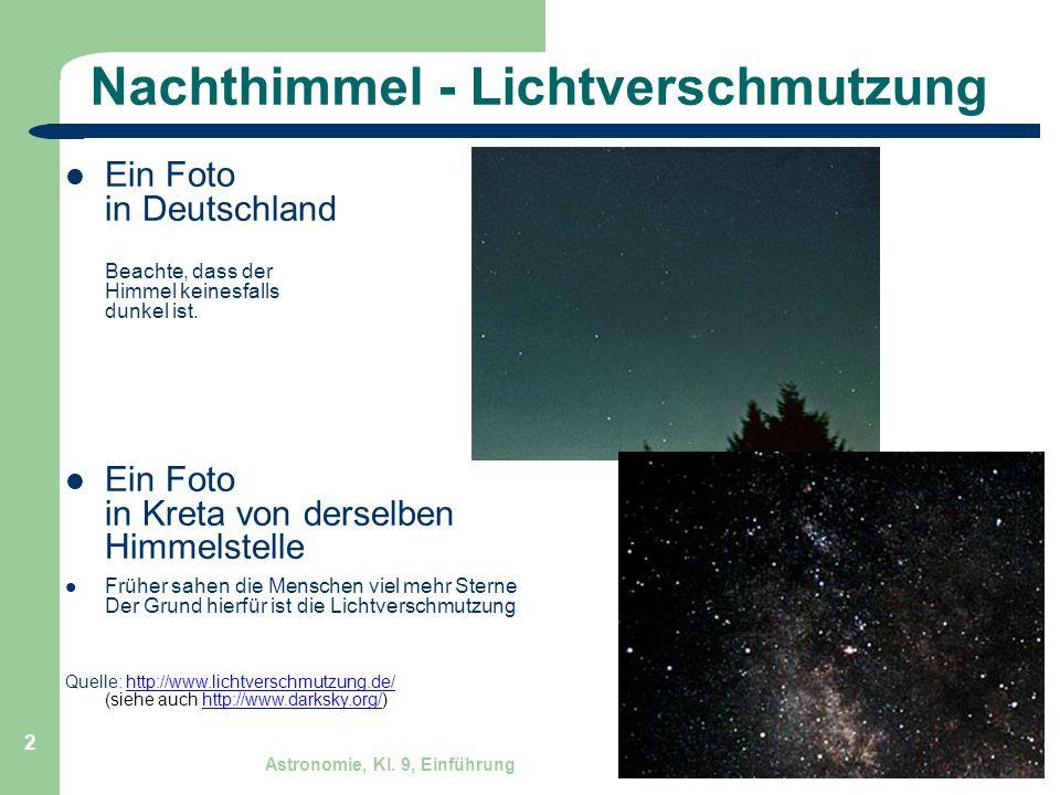 Astronomie, Kl. 9, Einführung GZG FN W.Seyboldt 2 Nachthimmel - Lichtverschmutzung Ein Foto in Deutschland Beachte, dass der Himmel keinesfalls dunkel
