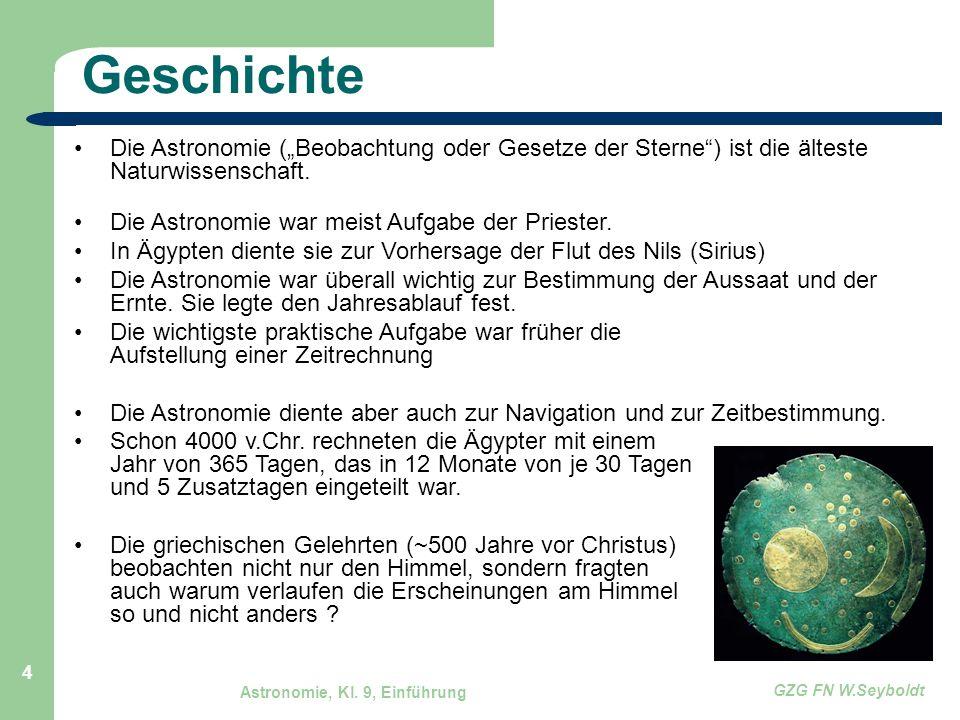 """Astronomie, Kl. 9, Einführung GZG FN W.Seyboldt 4 Geschichte Die Astronomie (""""Beobachtung oder Gesetze der Sterne"""") ist die älteste Naturwissenschaft."""