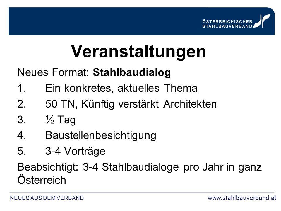 Veranstaltungen Neues Format: Stahlbaudialog 1.Ein konkretes, aktuelles Thema 2.50 TN, Künftig verstärkt Architekten 3.½ Tag 4.Baustellenbesichtigung 5.