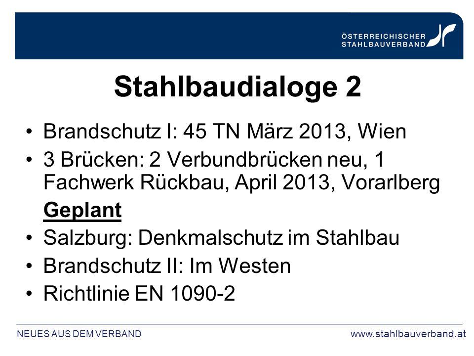 Stahlbaudialoge 2 Brandschutz I: 45 TN März 2013, Wien 3 Brücken: 2 Verbundbrücken neu, 1 Fachwerk Rückbau, April 2013, Vorarlberg Geplant Salzburg: Denkmalschutz im Stahlbau Brandschutz II: Im Westen Richtlinie EN 1090-2 NEUES AUS DEM VERBAND www.stahlbauverband.at