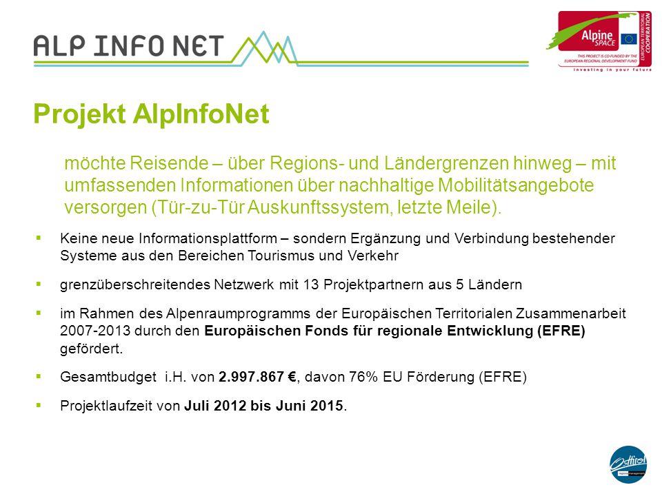 Projekt AlpInfoNet möchte Reisende – über Regions- und Ländergrenzen hinweg – mit umfassenden Informationen über nachhaltige Mobilitätsangebote versor