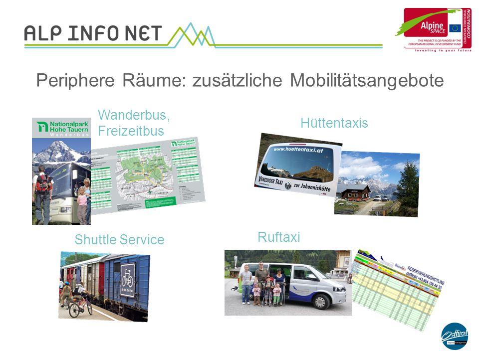 Wanderbus, Freizeitbus Periphere Räume: zusätzliche Mobilitätsangebote Shuttle Service Hüttentaxis Ruftaxi