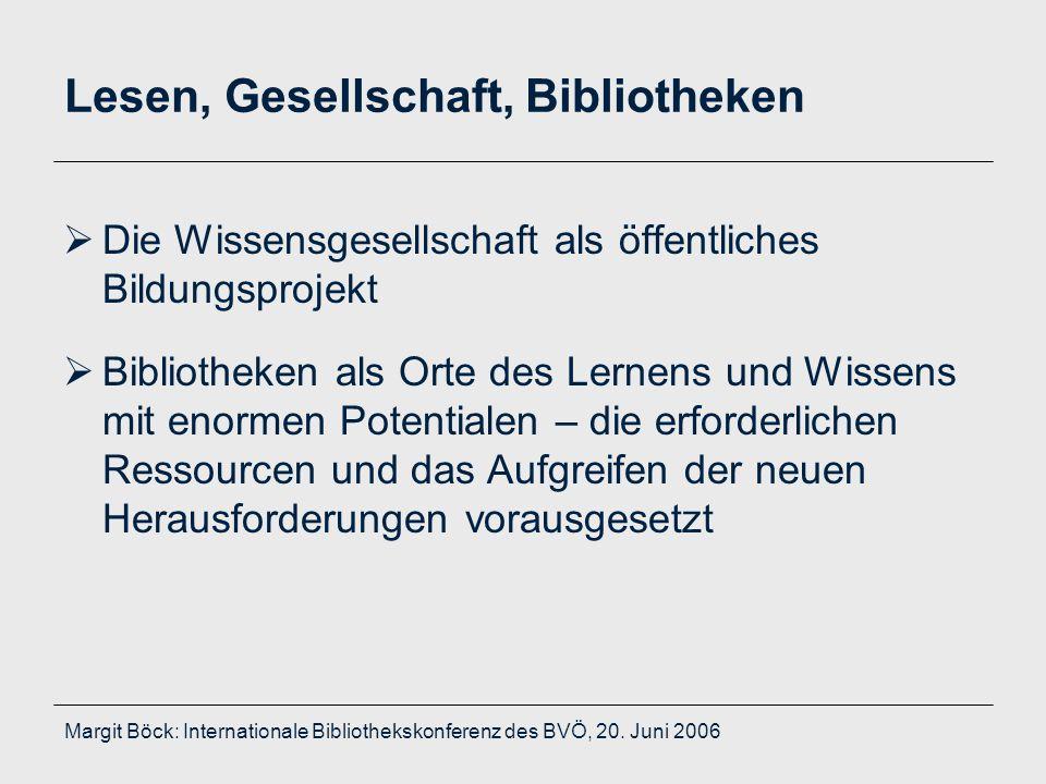 Margit Böck: Internationale Bibliothekskonferenz des BVÖ, 20. Juni 2006 Lesen, Gesellschaft, Bibliotheken  Die Wissensgesellschaft als öffentliches B