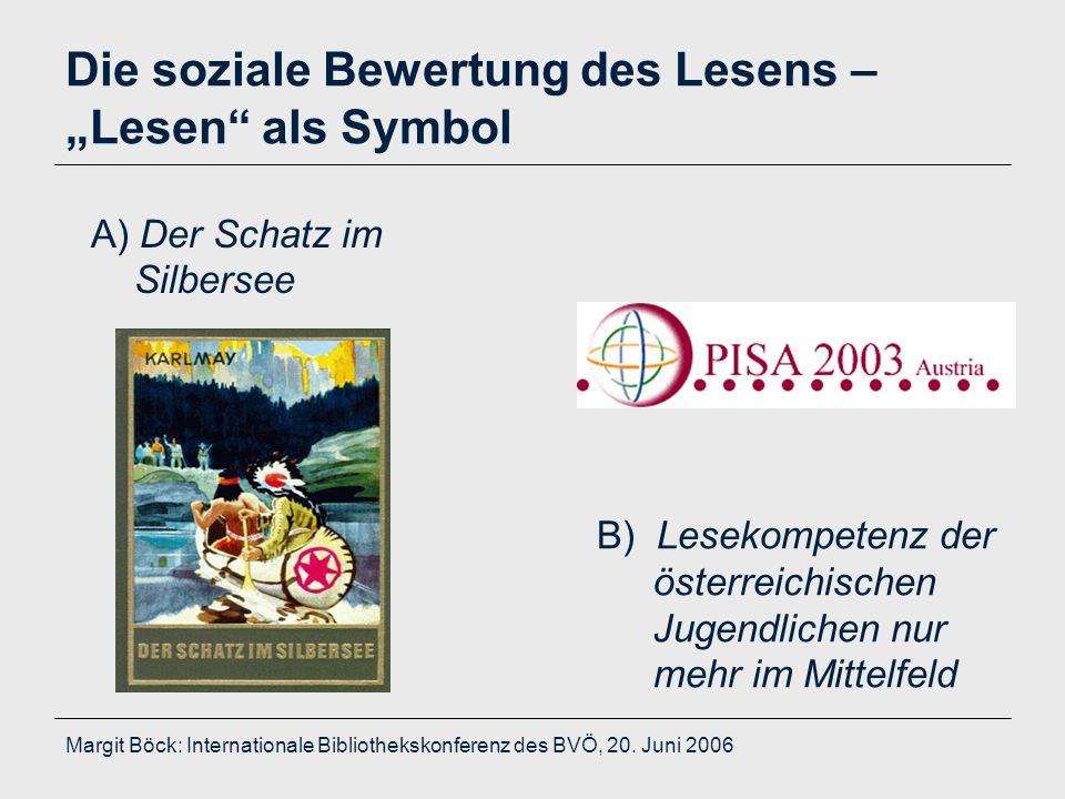 """Margit Böck: Internationale Bibliothekskonferenz des BVÖ, 20. Juni 2006 Die soziale Bewertung des Lesens – """"Lesen"""" als Symbol A) Der Schatz im Silbers"""