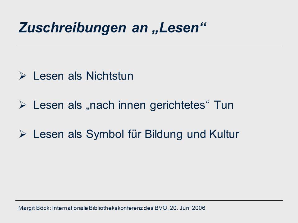 """Margit Böck: Internationale Bibliothekskonferenz des BVÖ, 20. Juni 2006 Zuschreibungen an """"Lesen""""  Lesen als Nichtstun  Lesen als """"nach innen gerich"""