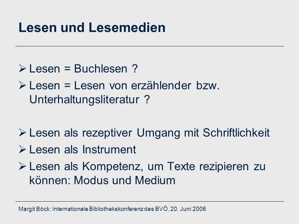 Margit Böck: Internationale Bibliothekskonferenz des BVÖ, 20. Juni 2006 Lesen und Lesemedien  Lesen = Buchlesen ?  Lesen = Lesen von erzählender bzw