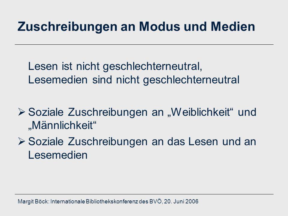 Margit Böck: Internationale Bibliothekskonferenz des BVÖ, 20. Juni 2006 Zuschreibungen an Modus und Medien Lesen ist nicht geschlechterneutral, Leseme
