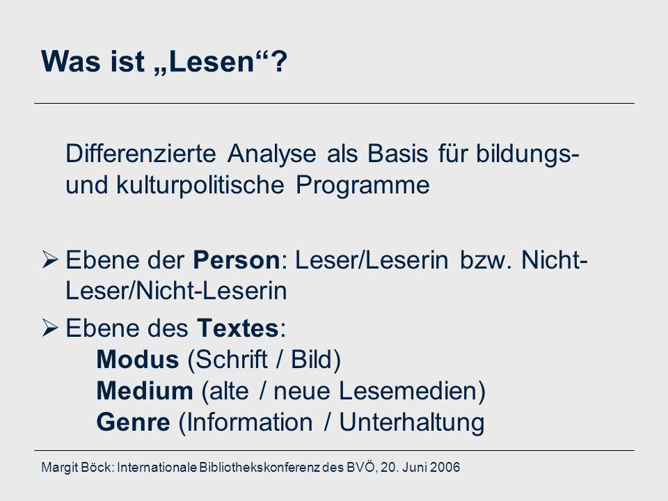 """Margit Böck: Internationale Bibliothekskonferenz des BVÖ, 20. Juni 2006 Was ist """"Lesen""""? Differenzierte Analyse als Basis für bildungs- und kulturpoli"""