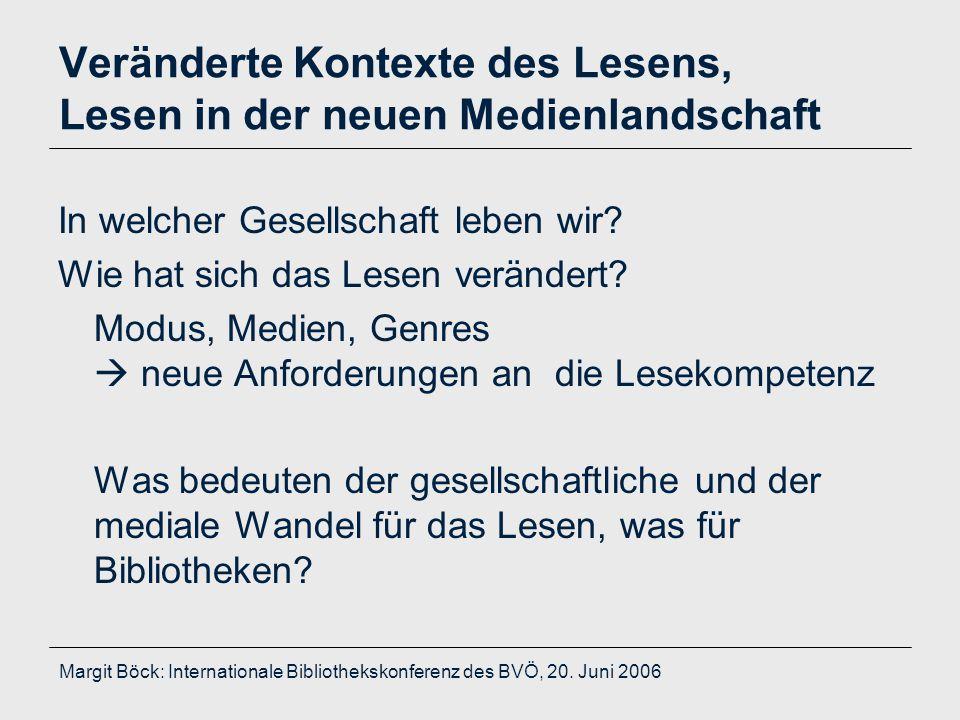 Margit Böck: Internationale Bibliothekskonferenz des BVÖ, 20. Juni 2006 Veränderte Kontexte des Lesens, Lesen in der neuen Medienlandschaft In welcher