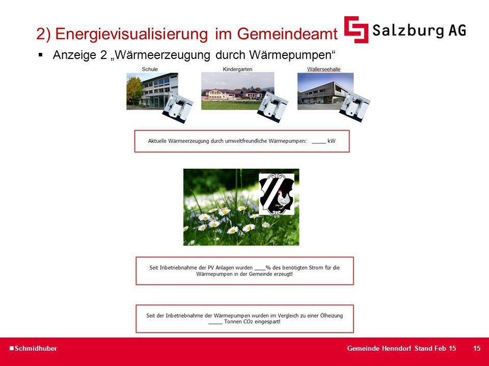 """15 2) Energievisualisierung im Gemeindeamt  Anzeige 2 """"Wärmeerzeugung durch Wärmepumpen SchmidhuberGemeinde Henndorf Stand Feb 15"""