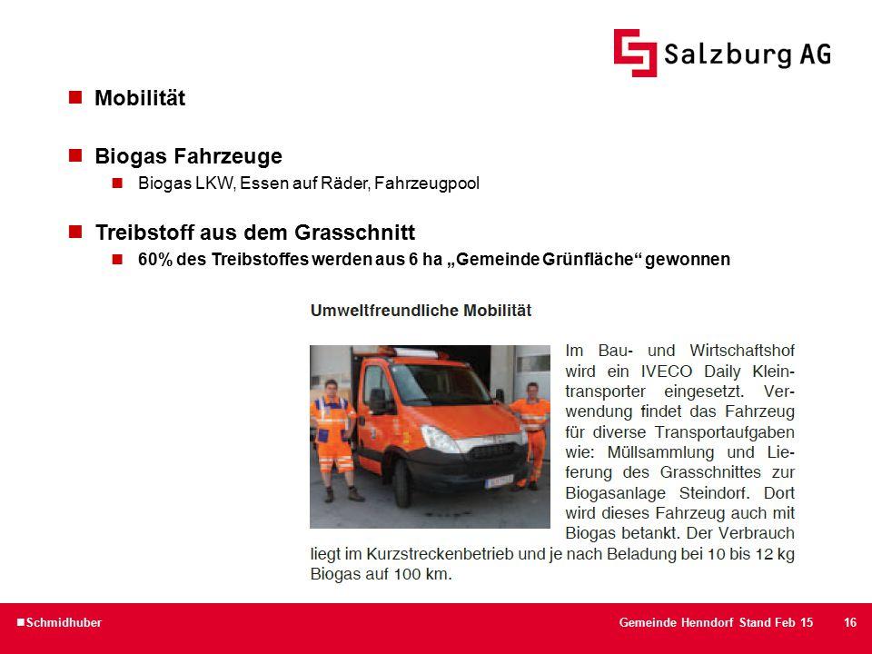 """16 Mobilität Biogas Fahrzeuge Biogas LKW, Essen auf Räder, Fahrzeugpool Treibstoff aus dem Grasschnitt 60% des Treibstoffes werden aus 6 ha """"Gemeinde Grünfläche gewonnen SchmidhuberGemeinde Henndorf Stand Feb 15"""