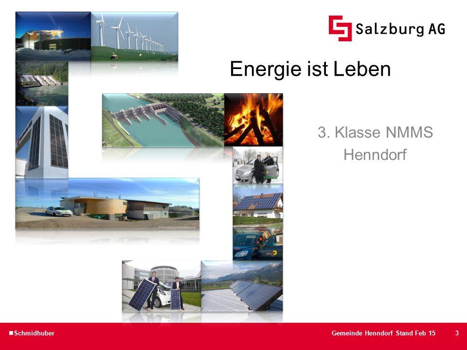 """14 Energievisualisierung im Gemeindeamt  Anzeige 1: """"Stromerzeugung der PV-Anlagen der Gemeindeobjekte SchmidhuberGemeinde Henndorf Stand Feb 15"""