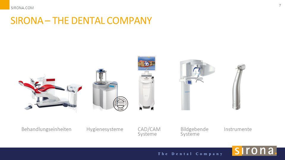SIRONA.COM Unternehmenspräsentation 2014 7 SIRONA – THE DENTAL COMPANY BehandlungseinheitenHygienesystemeCAD/CAM Systeme Bildgebende Systeme Instrumente