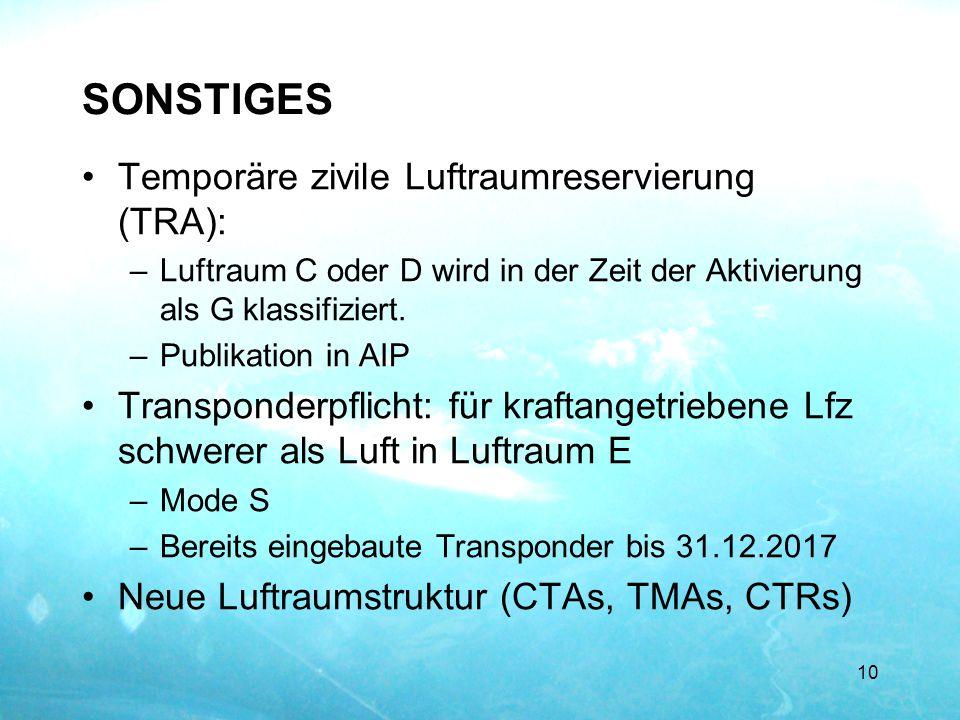 SONSTIGES Temporäre zivile Luftraumreservierung (TRA): –Luftraum C oder D wird in der Zeit der Aktivierung als G klassifiziert. –Publikation in AIP Tr