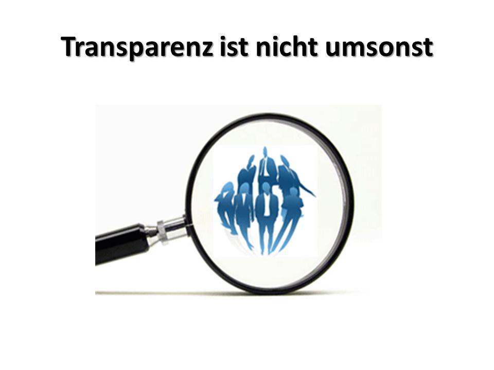 Transparenz ist nicht umsonst