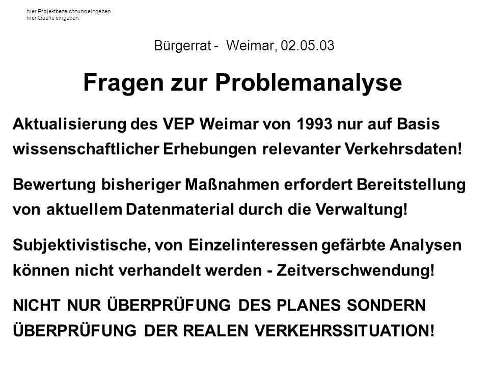 hier Projektbezeichnung eingeben hier Quelle eingeben Fragen zur Problemanalyse Aktualisierung des VEP Weimar von 1993 nur auf Basis wissenschaftlicher Erhebungen relevanter Verkehrsdaten.