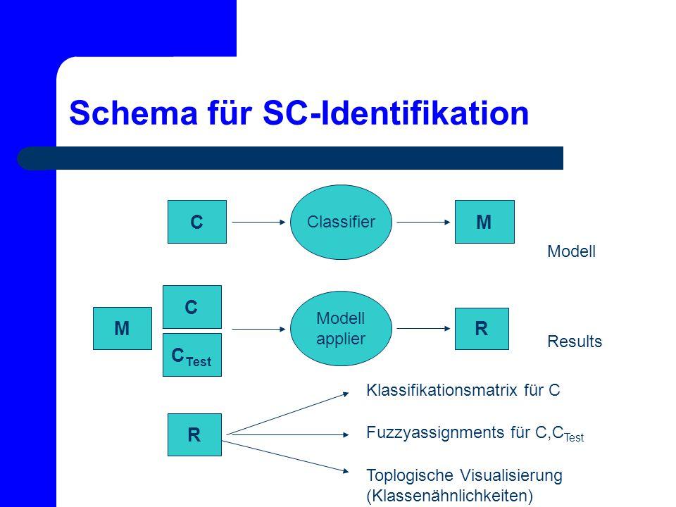 Schema für SC-Identifikation Classifier Modell applier M R C Modell C C Test M Results R Klassifikationsmatrix für C Fuzzyassignments für C,C Test Top