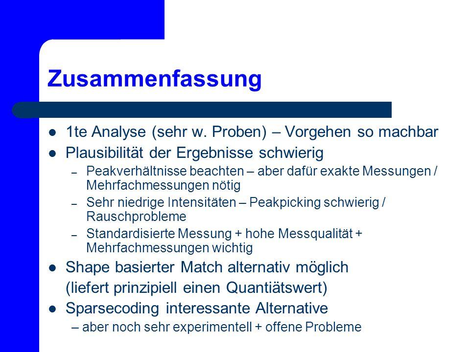 Zusammenfassung 1te Analyse (sehr w. Proben) – Vorgehen so machbar Plausibilität der Ergebnisse schwierig – Peakverhältnisse beachten – aber dafür exa