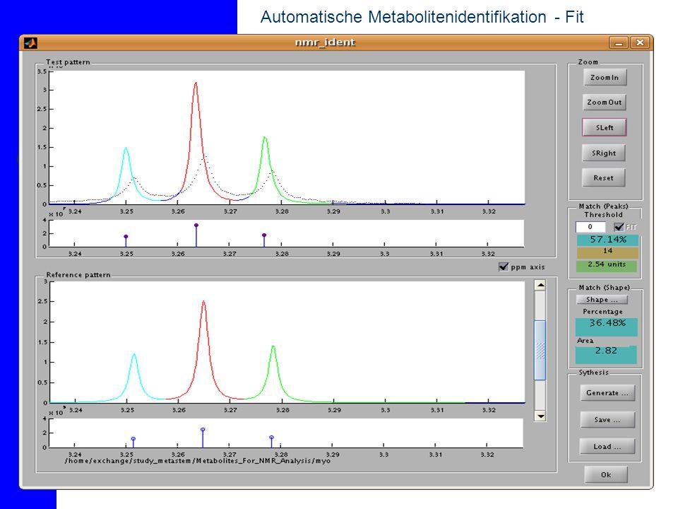 Automatische Metabolitenidentifikation Simulationsmessung (Lacktat) Messung bzw.