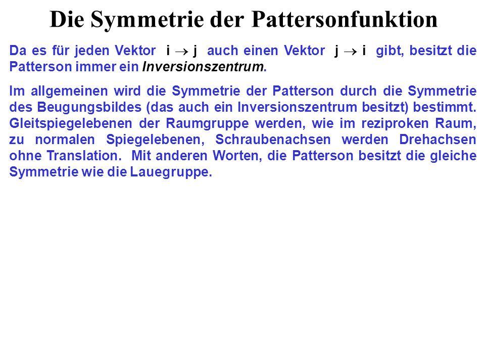 Die Symmetrie der Pattersonfunktion Da es für jeden Vektor i  j auch einen Vektor j  i gibt, besitzt die Patterson immer ein Inversionszentrum.