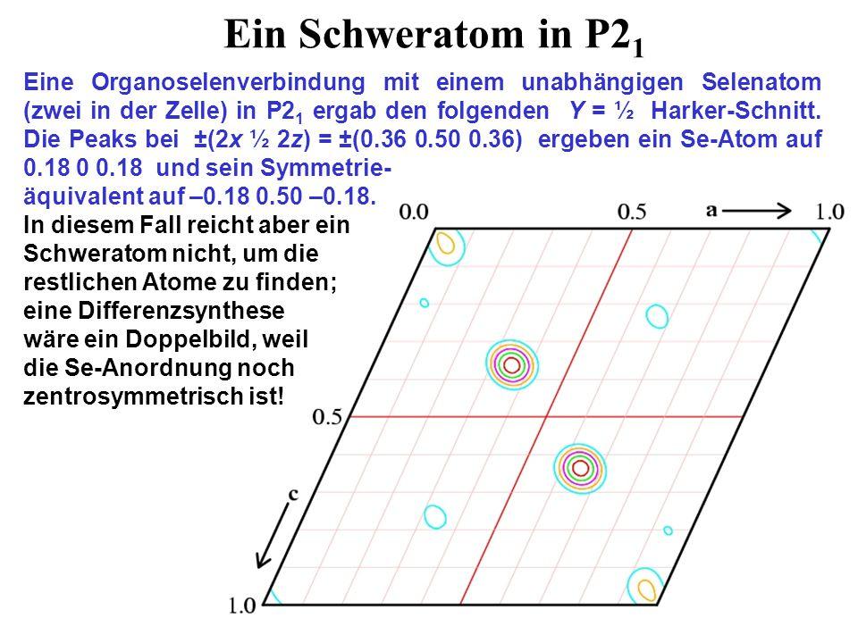 Ein Schweratom in P2 1 Eine Organoselenverbindung mit einem unabhängigen Selenatom (zwei in der Zelle) in P2 1 ergab den folgenden Y = ½ Harker-Schnitt.