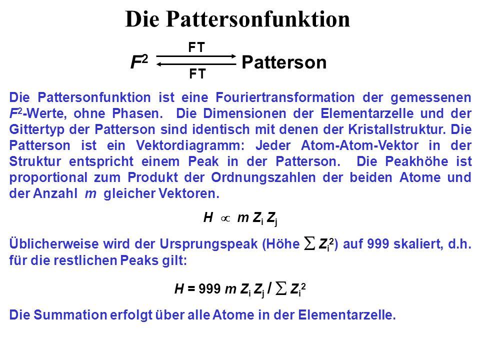 Die Pattersonfunktion F 2 Patterson Die Pattersonfunktion ist eine Fouriertransformation der gemessenen F 2 -Werte, ohne Phasen.