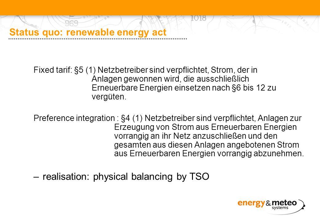 Status quo: renewable energy act Fixed tarif: §5 (1) Netzbetreiber sind verpflichtet, Strom, der in Anlagen gewonnen wird, die ausschließlich Erneuerbare Energien einsetzen nach §6 bis 12 zu vergüten.