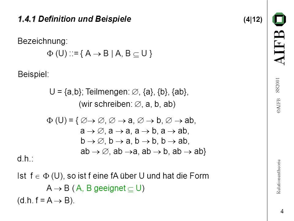Relationentheorie  AIFB SS2001 4 1.4.1 1.4.1 Definition und Beispiele (4|12) Bezeichnung:  (U) ::= { A  B | A, B  U } Beispiel: U = {a,b}; Teilmengen: , {a}, {b}, {ab}, (wir schreiben: , a, b, ab) d.h.: Ist f   (U), so ist f eine fA über U und hat die Form A  B ( A, B geeignet  U) (d.h.