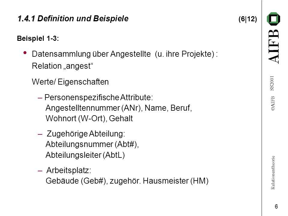 Relationentheorie  AIFB SS2001 6 1.4.1 1.4.1 Definition und Beispiele (6|12) Beispiel 1-3: Datensammlung über Angestellte (u.