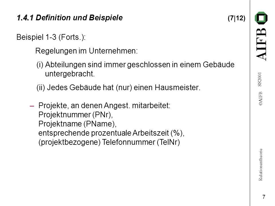 Relationentheorie  AIFB SS2001 7 1.4.1 1.4.1 Definition und Beispiele (7|12) Beispiel 1-3 (Forts.): Regelungen im Unternehmen: (i) Abteilungen sind immer geschlossen in einem Gebäude untergebracht.