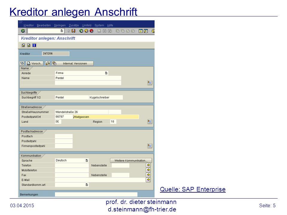 Kreditor anlegen: Kontoführung Buchhaltung 03.04.2015 prof.