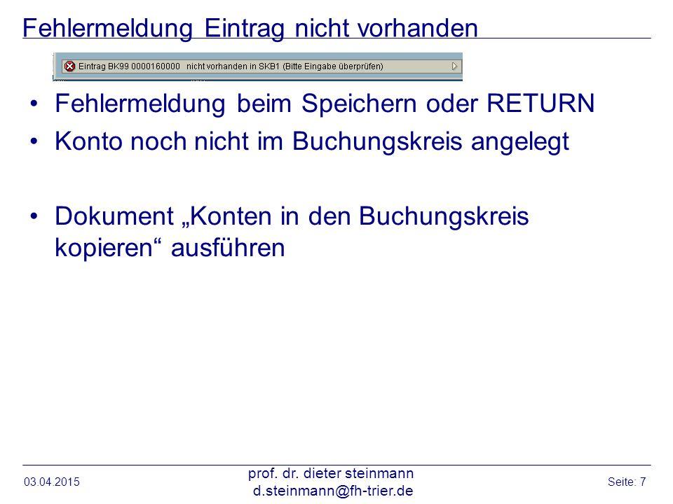 Kreditor anlegen Einkaufsdaten 03.04.2015 prof.dr.