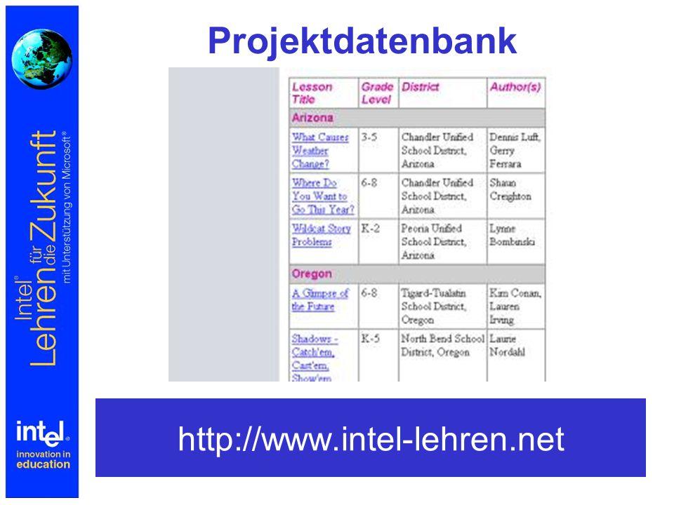 Weitere Projektdatenbanken http://www.eduniverse.com/edu/lessonp.asp http://www.intel-lehren.net http://www.learn- line.nrw.de/angebote/telepoint/index.html http://www.isb.bayern.de/bes/vorhaben/modellversuc he/mut/ http://www.lbs.bw.schule.de/mmlfb/mm_ak/