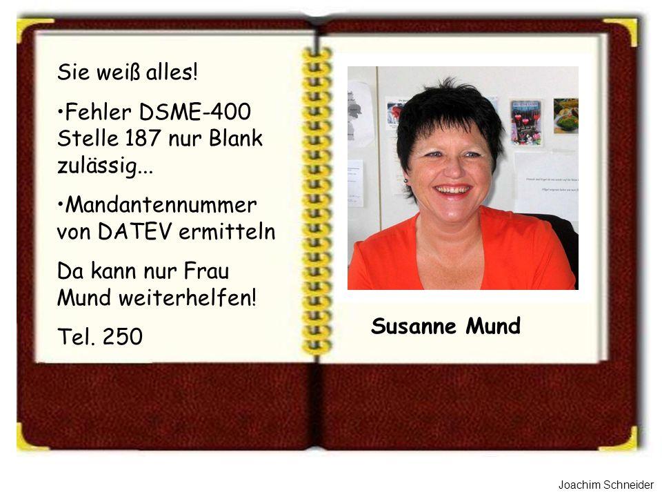 Joachim Schneider Susanne Mund Sie weiß alles! Fehler DSME-400 Stelle 187 nur Blank zulässig... Mandantennummer von DATEV ermitteln Da kann nur Frau M