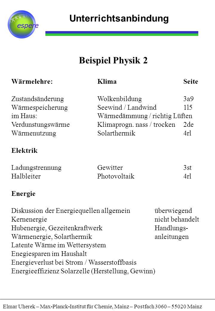 Elmar Uherek – Max-Planck-Institut für Chemie, Mainz – Postfach 3060 – 55020 Mainz Unterrichtsanbindung Beispiel Physik 2 Wärmelehre:KlimaSeite Zustan