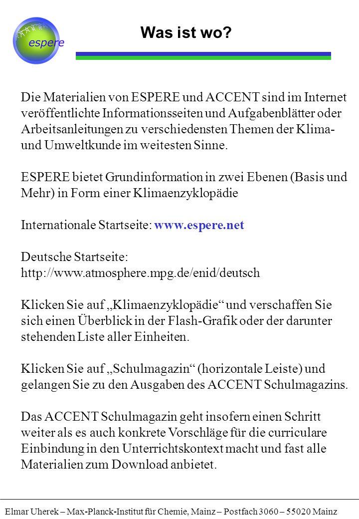 Technik Seiten referenzieren Elmar Uherek – Max-Planck-Institut für Chemie, Mainz – Postfach 3060 – 55020 Mainz Im Unterricht möchten Sie eventuell Schülern bestimmte Seiten angeben.