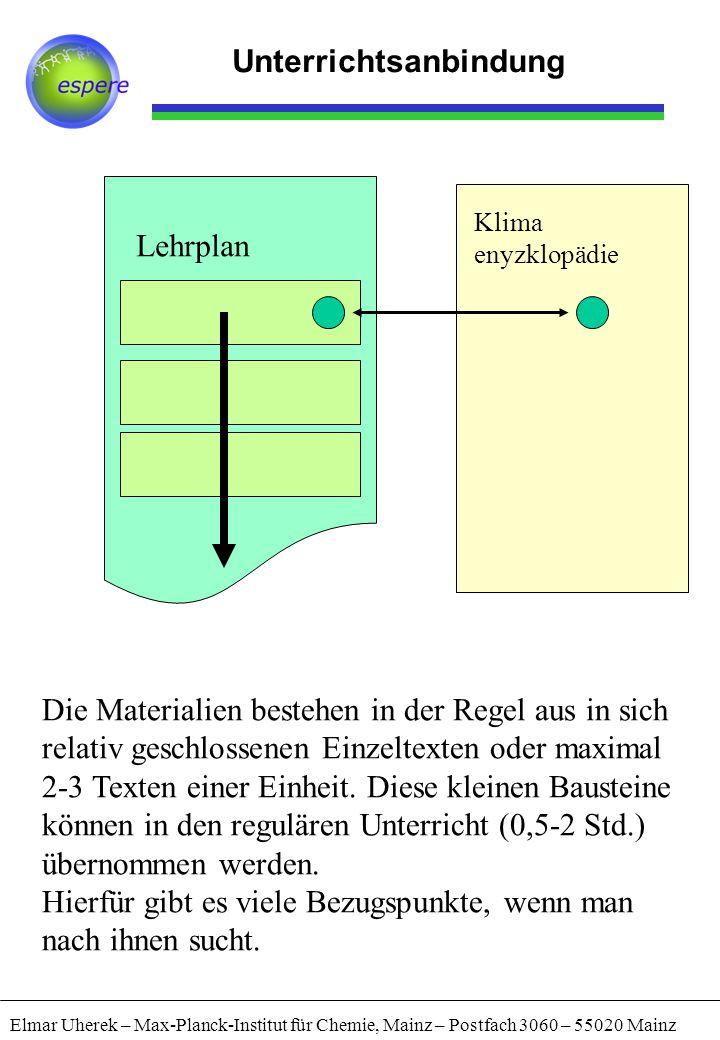 Elmar Uherek – Max-Planck-Institut für Chemie, Mainz – Postfach 3060 – 55020 Mainz Unterrichtsanbindung Lehrplan Klima enyzklopädie Die Materialien be