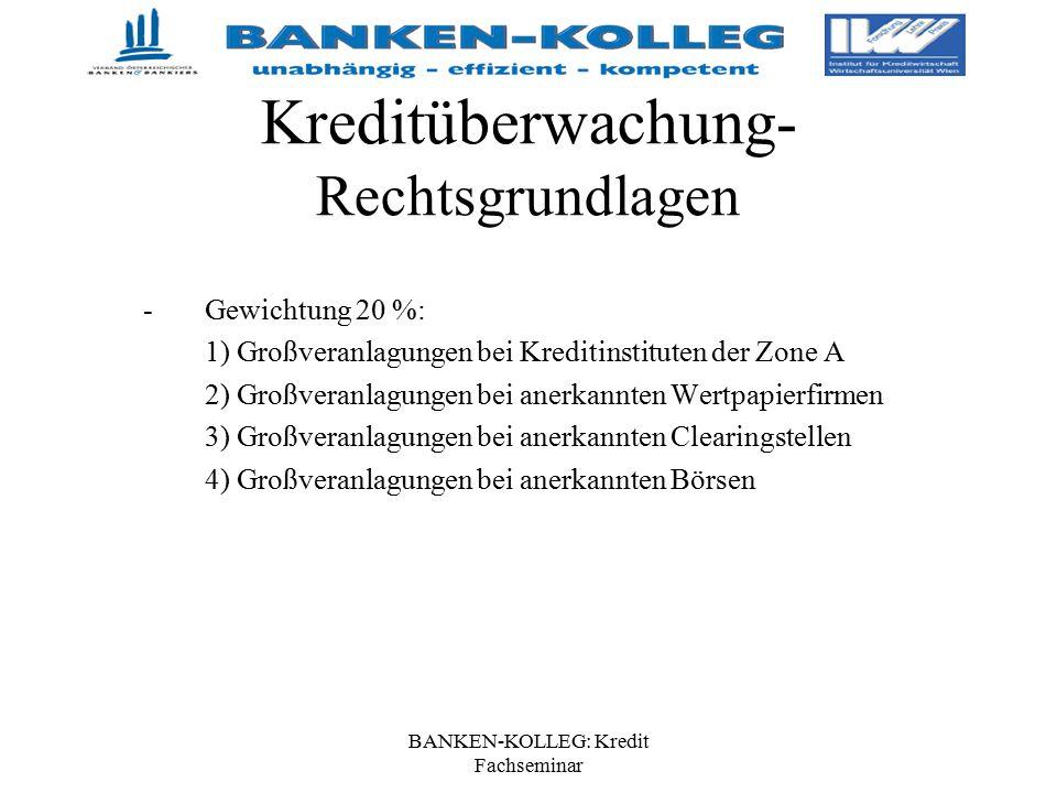 BANKEN-KOLLEG: Kredit Fachseminar Kreditüberwachung- Rechtsgrundlagen -Gewichtung 20 %: 1) Großveranlagungen bei Kreditinstituten der Zone A 2) Großve